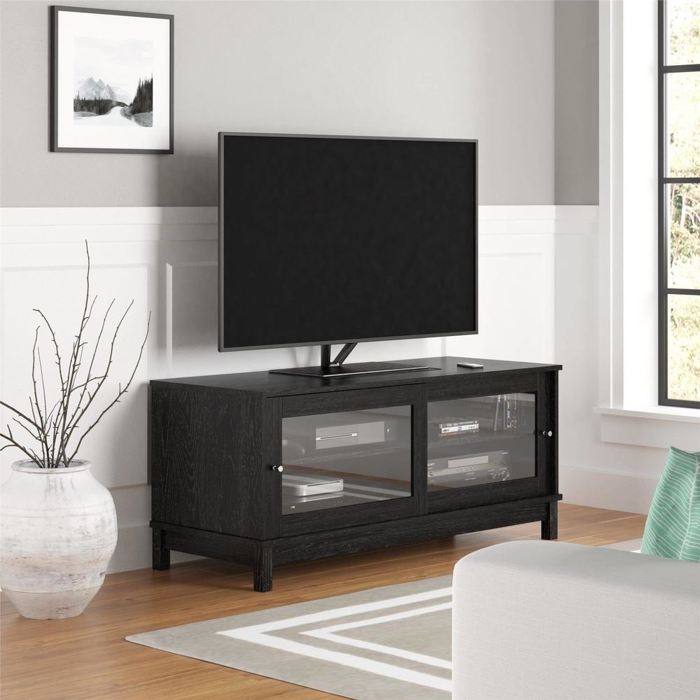 Home Entertainment Center 55 Tv Stand With Sliding Glass Doors