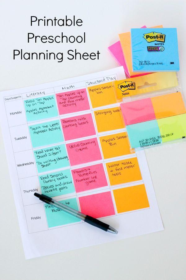 printable preschool planning sheet preschool planner. Black Bedroom Furniture Sets. Home Design Ideas