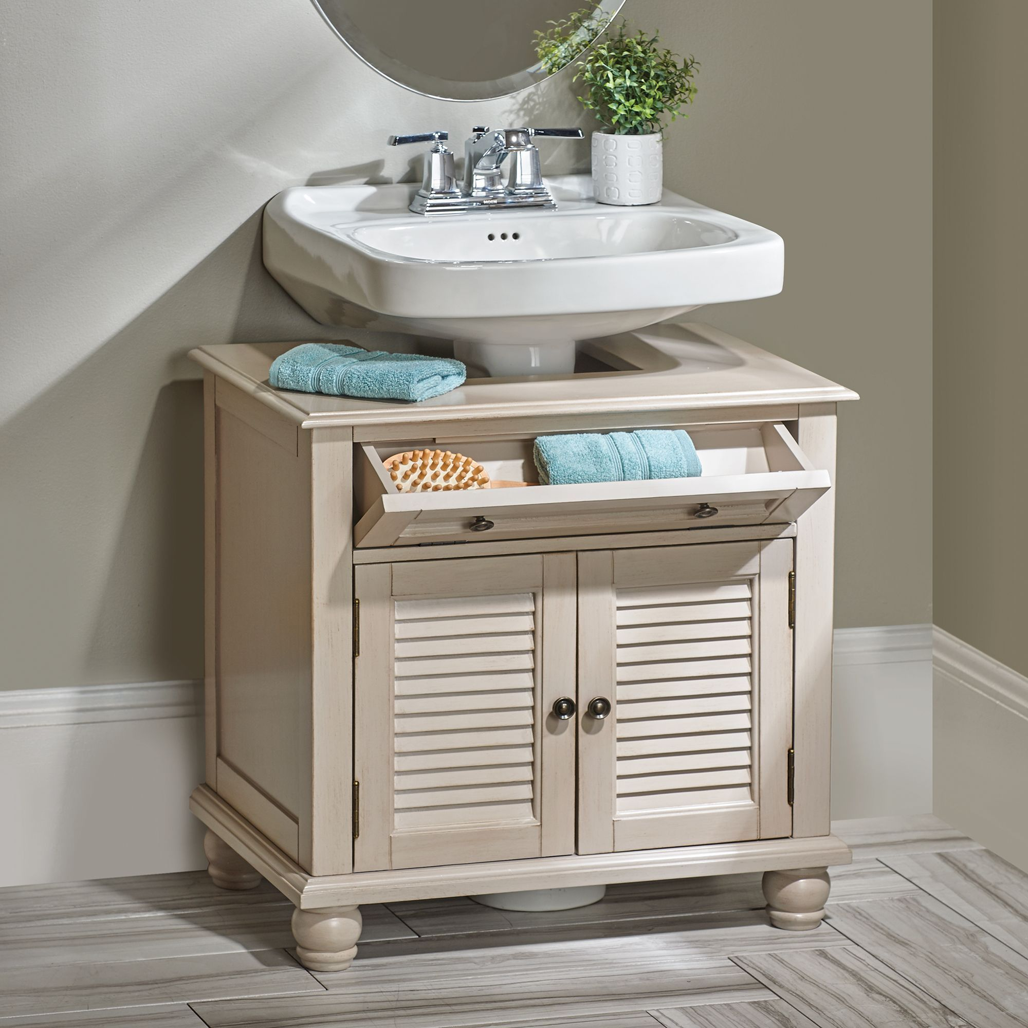 Newport louvered pedestal sink cabinet pedestal sink for Small bathroom vanity with storage