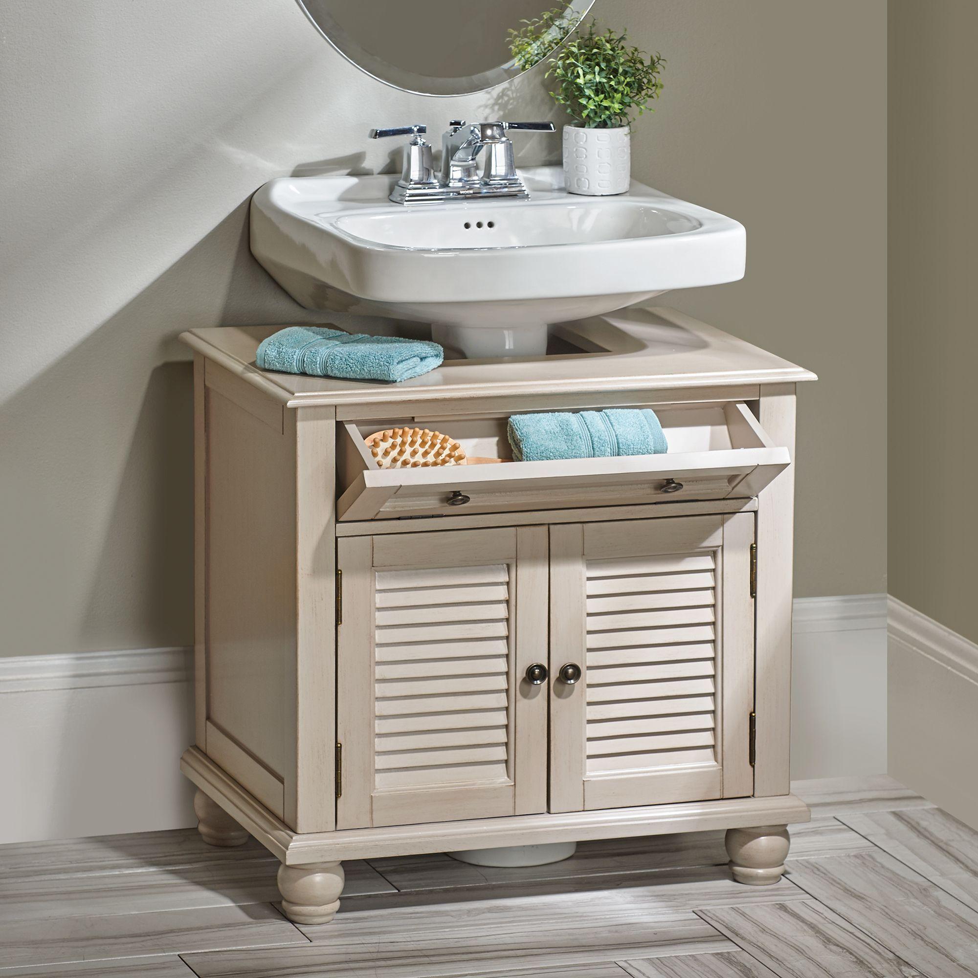 Newport Louvered Pedestal Sink Cabinet Small Bathroom Storage