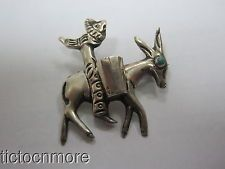 VINTAGE TAXCO MEXICO STERLING SILVER FARMER & DONKEY PASTORAL PIN BROOCH 12g