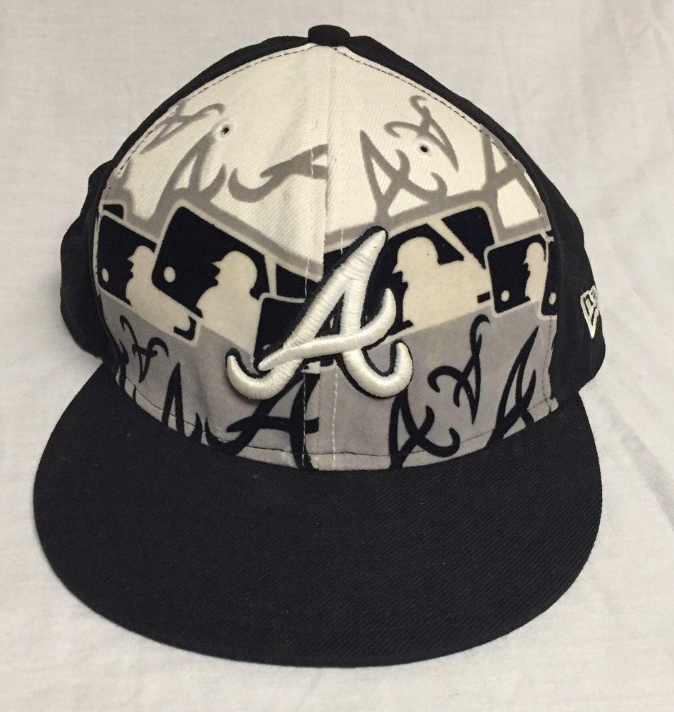 Atlanta Braves Mlb New Era Black Fitted Hat Cap Size 8 Atlanta Braves Fitted Hats Braves