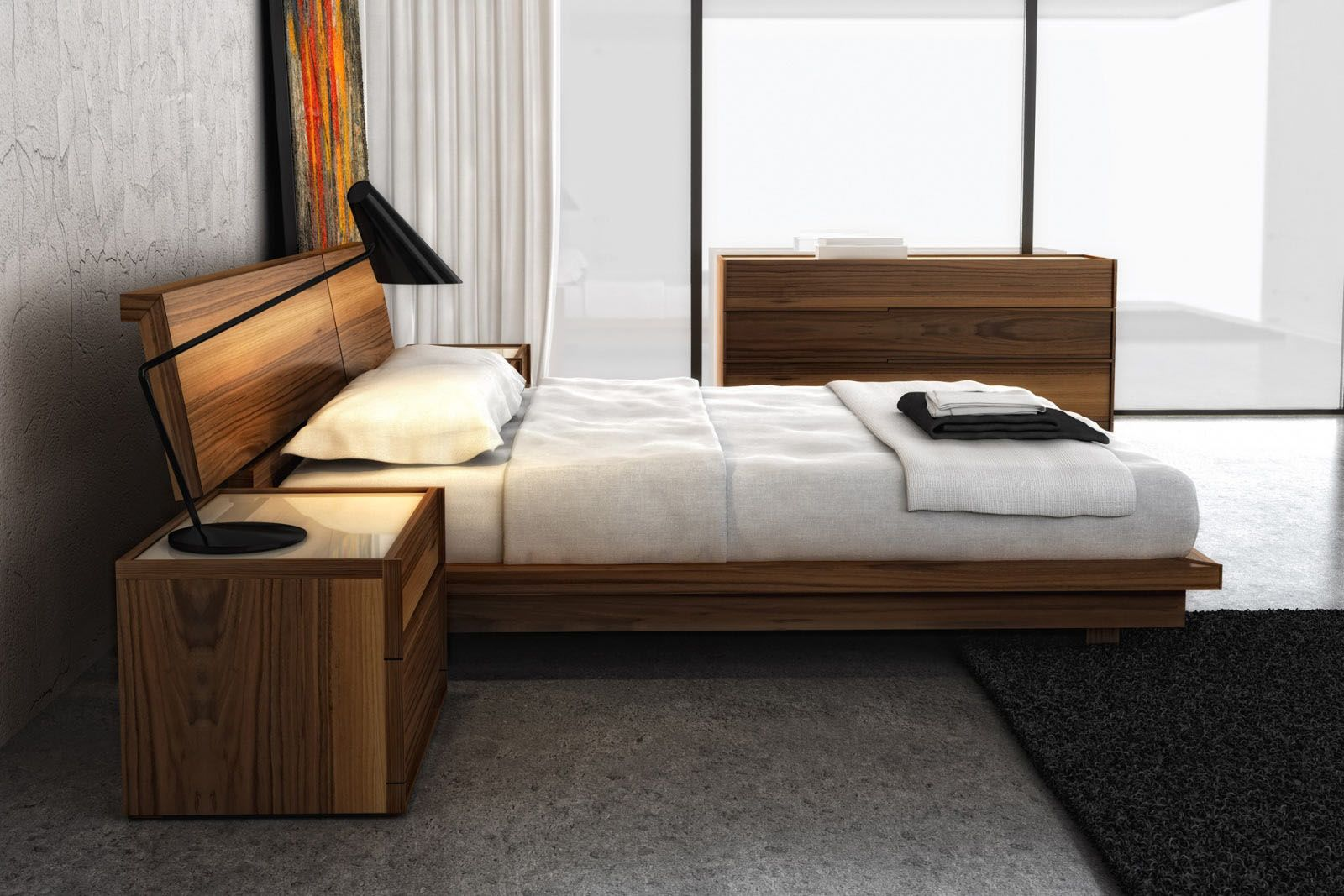 Huppe bed in walnut. Clean lines help bring out the