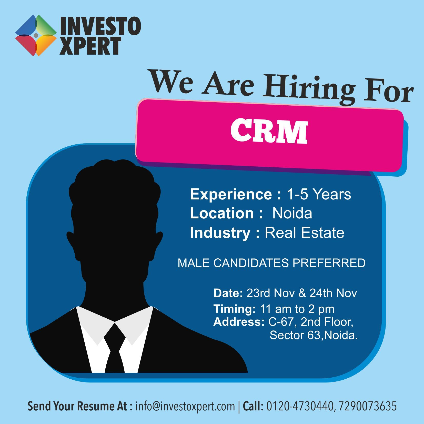 Urgent opening of CRM profile in a real estate advisory