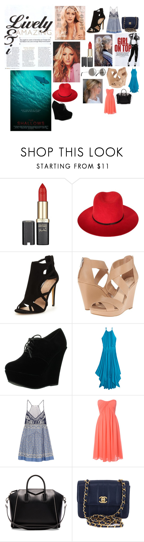 """""""Blake Lively Fashion"""" by colorado-nutella-lover ❤ liked on Polyvore featuring L'Oréal Paris, Janessa Leone, Chanel, Jessica Simpson, Forever Link, Calypso St. Barth, Chloé, Glamorous, Givenchy and gorgeous"""