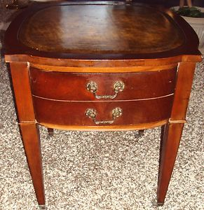 Antique Mahogany Side End Table Leather Top Large Drawer Wheels