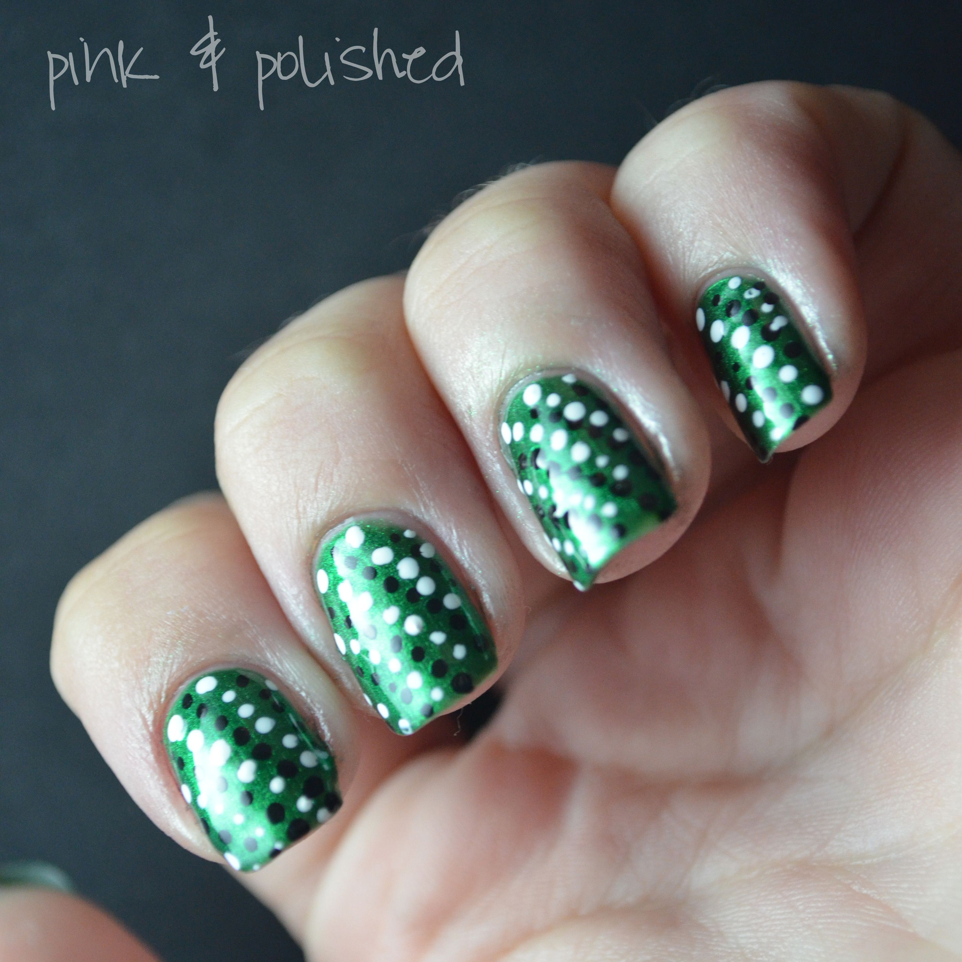 Green black and white dots nail designs pinterest