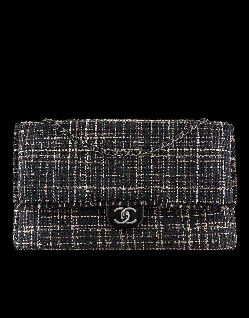 piel negro Bolso granulada tweed de clásico y y ternera grande xCBrCwI