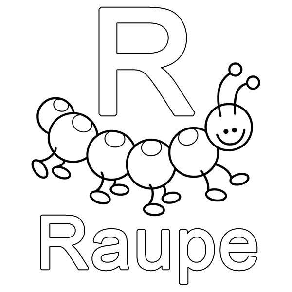 Ausmalbild Buchstaben lernen: Kostenlose Malvorlage: R wie Raupe ...