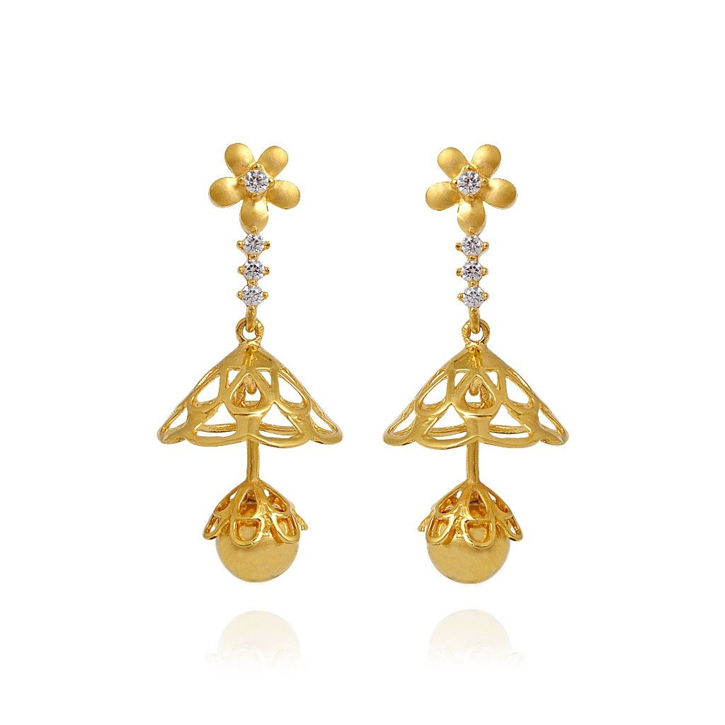 Flower Chandelier Stone Studded Gold Earrings - Earrings - Type ...