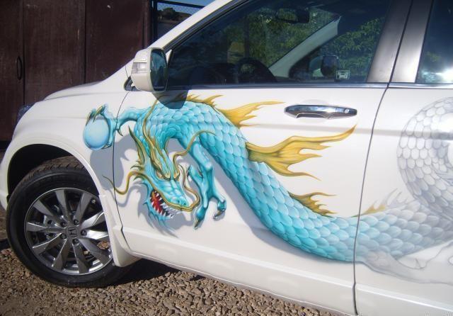 airbrush, car, painting, japanese, dragon, honda, crv ...