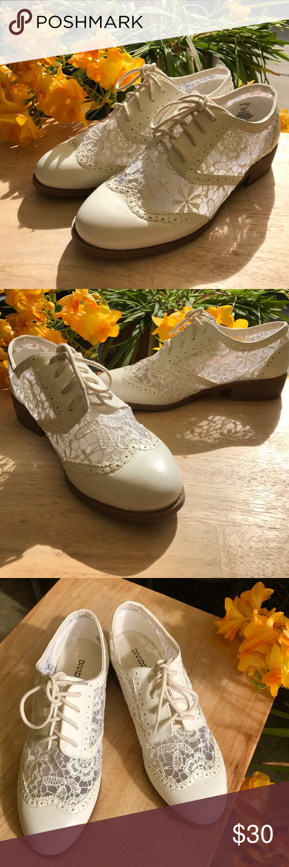 H&M White/Off-white Lace Oxford-look Flats Slightly tapered rounded toe flats. I really liked them but they're too big for me :[ They're actually size 8 but they fit more like an 8.5. Divided Shoes Sneakers