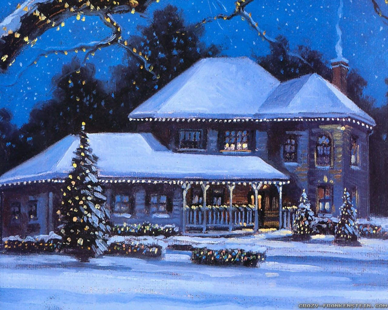 House Winter Christmas Scenery Painting Wallpapers Christmas Scenery Winter Wallpaper Christmas Landscape