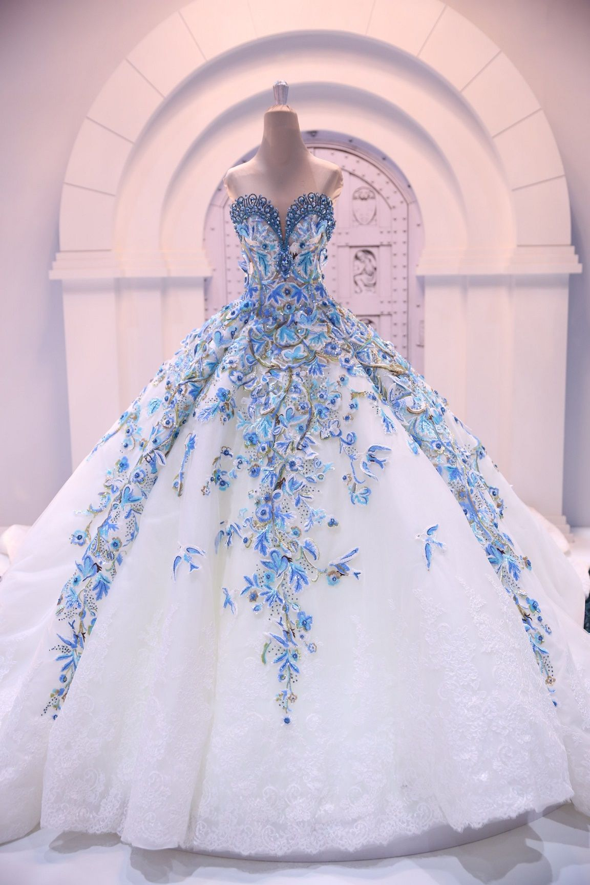 White and blue wedding dresses  landybridalblog What a stunning bride dress You can find more