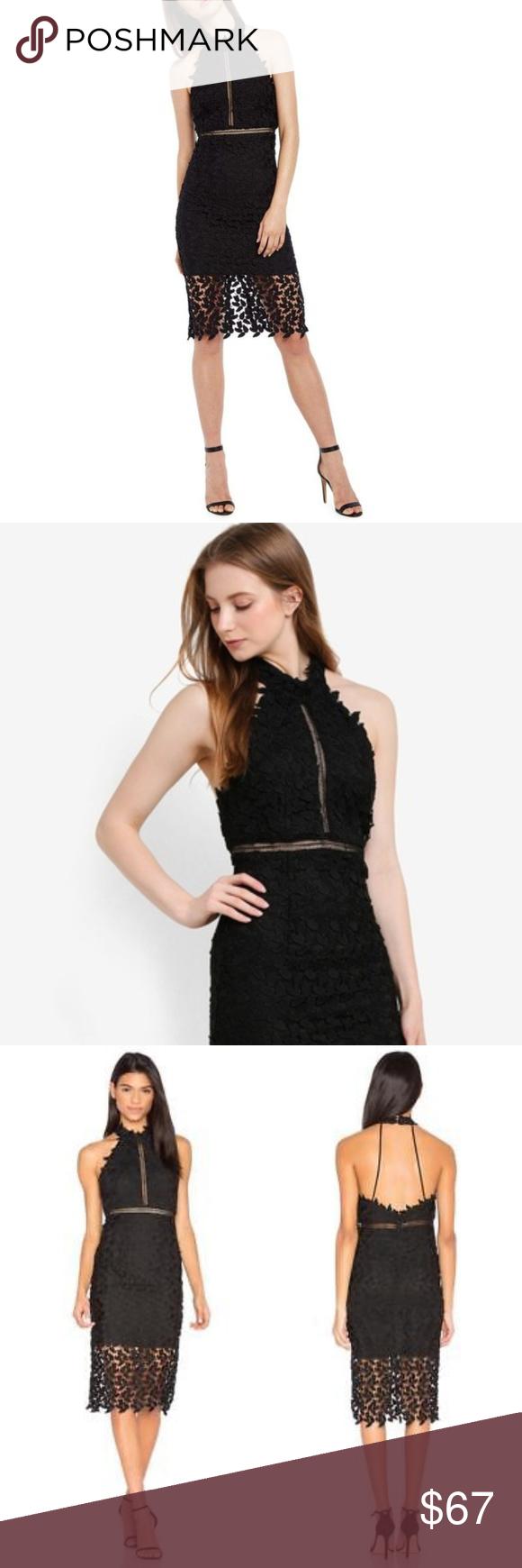 Bardot Gemma Halter Lace Sheath Dress Black Size 6 Bardot