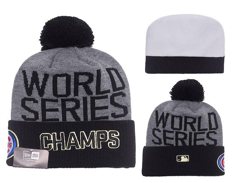Men s   Women s Chicago Cubs New Era 2016 MLB World Series Champions Pom  Pom Knit Beanie Hat - Grey   Black 92456b6e5d1
