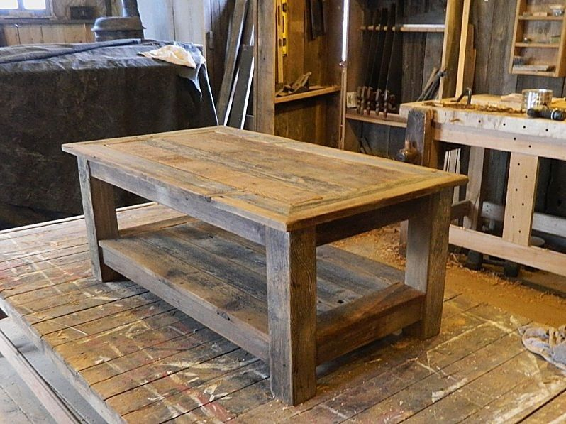 Custom Made Signatures Series Rustic Barn Wood Coffee Table