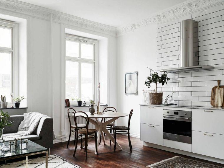 pavimento in parquet e pareti bianche, open space cucina soggiorno ...