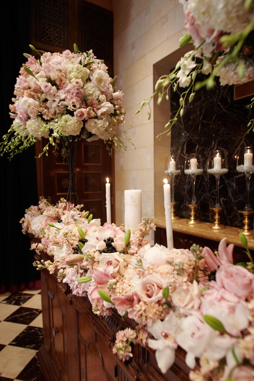 Blush fantasy altar flowers wedding church wedding