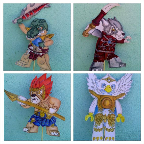 set of 5 Legends of Chima birthday party centerpieces | Boy Birthday ...