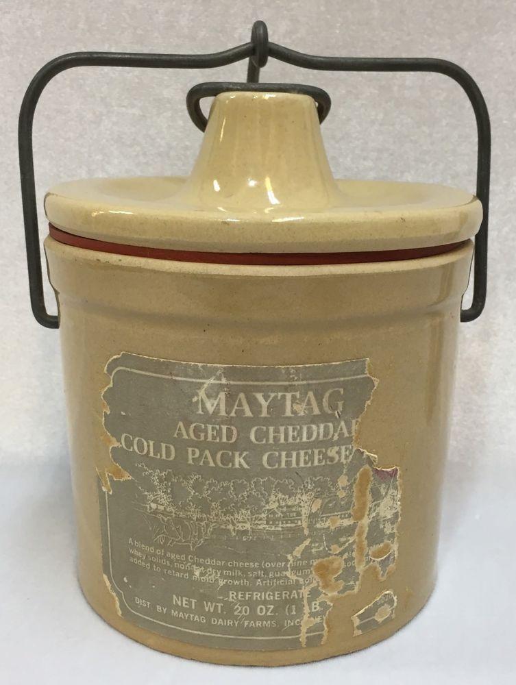 Cheese Crock Maytag Aged Cheddar 20 Oz Bail Wire Closure Clamp Lid Vintage Farmcountry Maytag Crock Maytag Cheddar