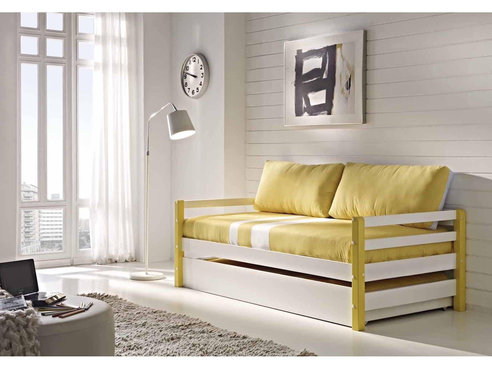 Cama nido blanca y amarilla observaciones incluye somier for Sofa cama 180 ancho