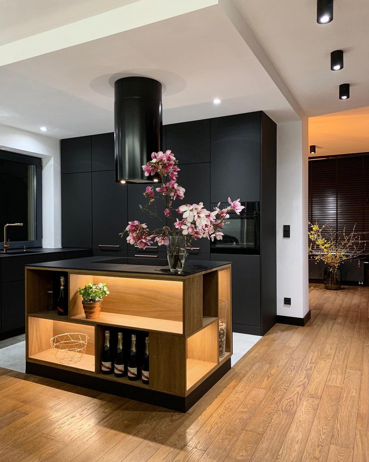 Okap Wyspowy Cylindro Black Nortberg In 2021 Modern Kitchen Kitchen Design Kitchen Interior
