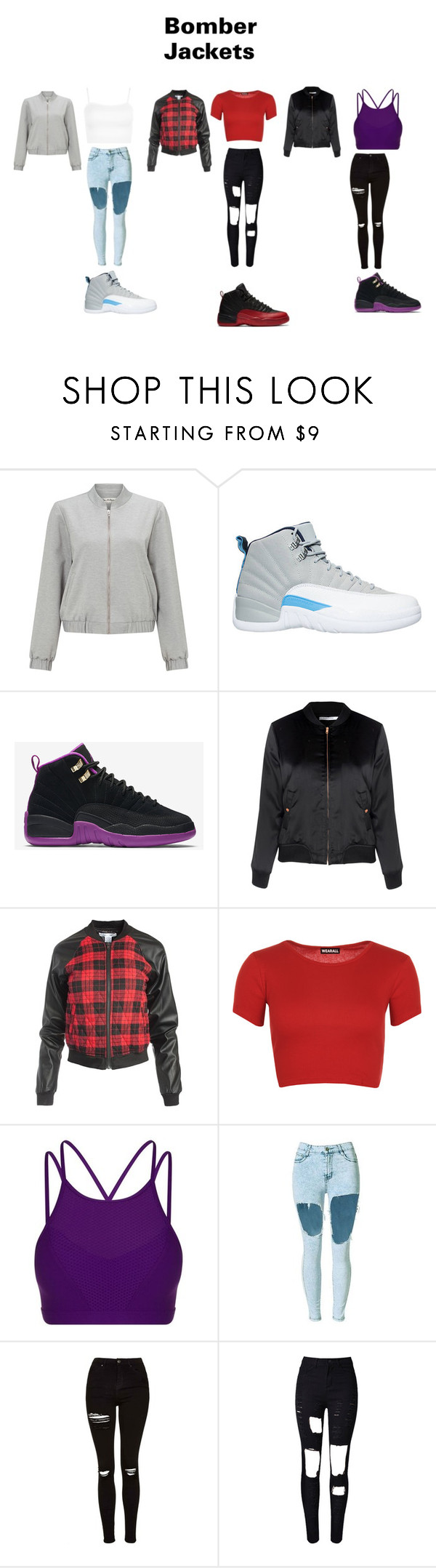 """""""Bomber jackets"""" by arie-boi on Polyvore featuring Miss Selfridge, NIKE, Glamorous, Sans Souci, WearAll, Lorna Jane, Topshop, WithChic and bomberjackets"""