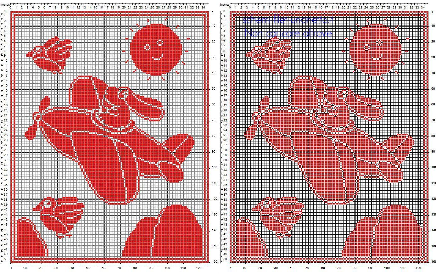 Copertine bimbi a uncinetto filet cartoni animati La Pimpa su ...