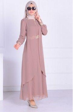 Gupurlu Sifon Elbise 52221a 10 Vizon Couture Dresses Gowns Glamour Dress Muslim Fashion