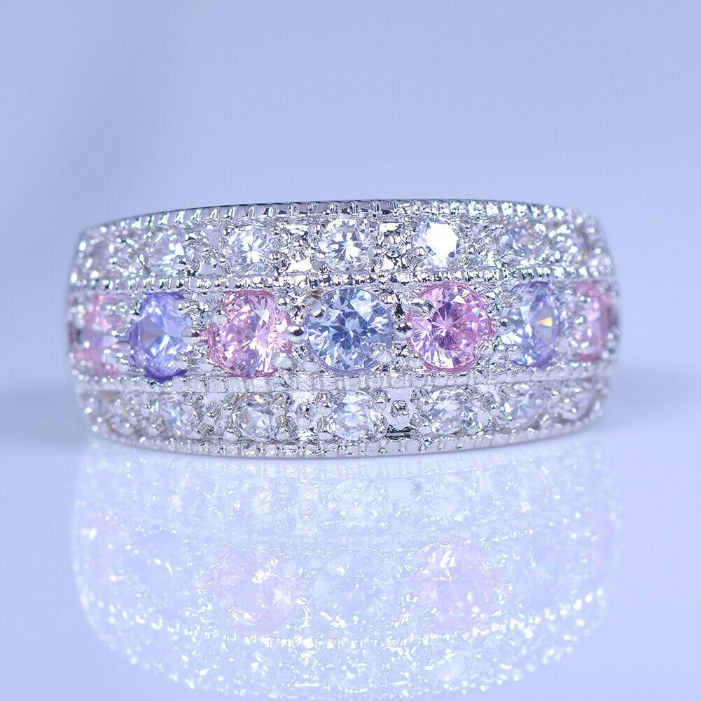 Photo of Elegant Pink, Purple + White Sapphire Sparkle Ring – 6