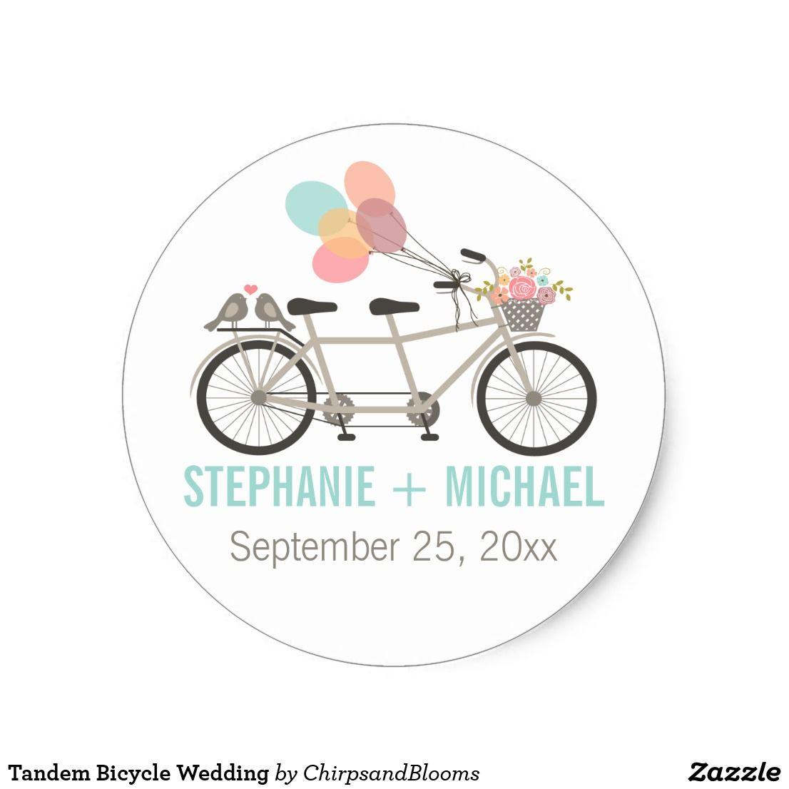 Sticker Rond Mariage tandem de bicyclette | Bicycle wedding, Round ...