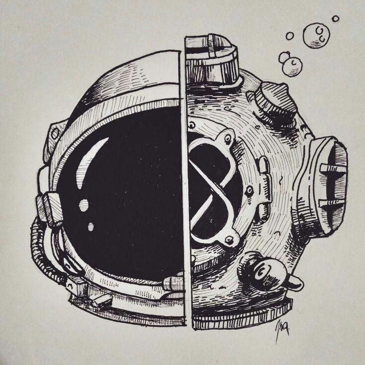 Half astronaut half diver Sketches, Astronaut art, Space