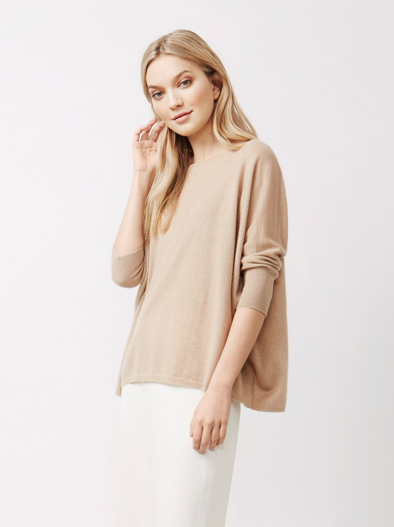 66199f6d7 Soft Goat Women's Short Sleeve Poncho Sand | Garderob | Tunic tops ...