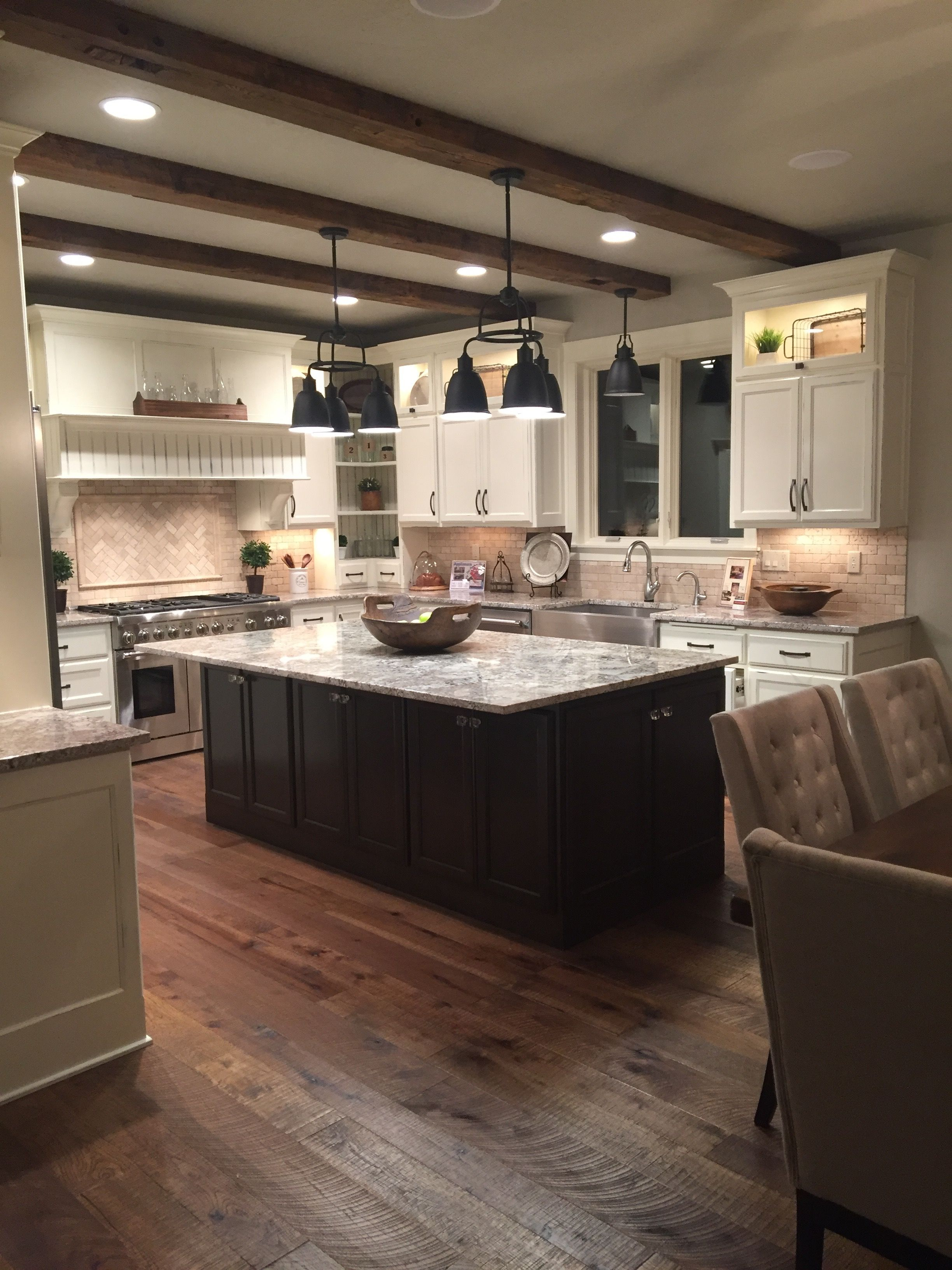 Amazing Family Kitchen With Reclaimed Wood Barn Beams And