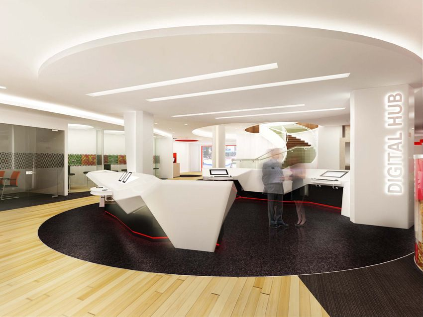 10 Branches Designed To Wow The Digital Banking Consumer Bank Interior Design Branch Design Design