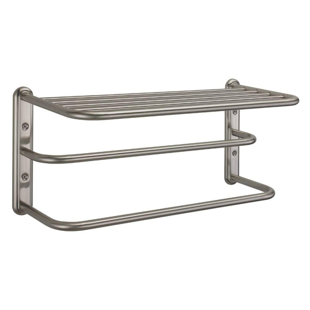 Delta Hotel Style Satin Nickel 24 inch Bathroom Towel Bar with Shelf ...