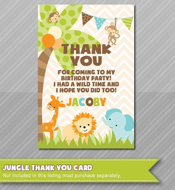 Jungle theme thank you card matching jungle invitations baby girls jungle theme thank you card matching jungle invitations baby invitations by wolcottdesigns on etsy stopboris Choice Image