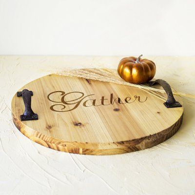 Cathys Concepts Rustic Gather Wood Tray with Metal Handles - HT16-2296-GA