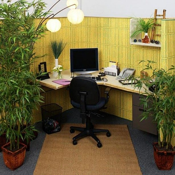 Adorable Office Decorating Ideas For Men With Some Complements Marvelous Bamboo Wall Panels Office Decorat Cubicle Decor Office Zen Home Office Cubicle Design