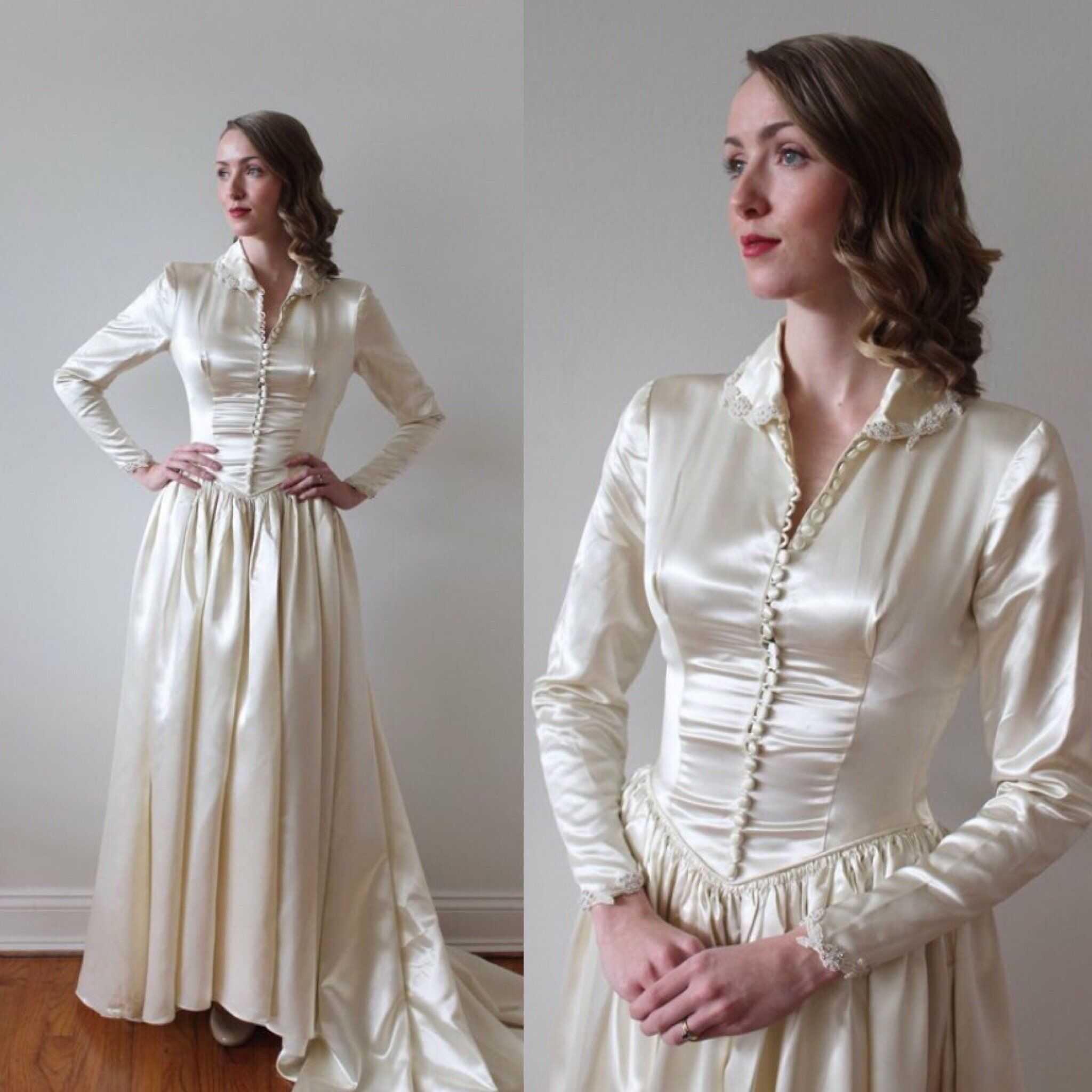Vintage 1940's Long Sleeved Satin Wedding Dress with