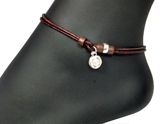 Leather Anklet Ankle Bracelet with Open Heart Charm WhKaKmn2bD