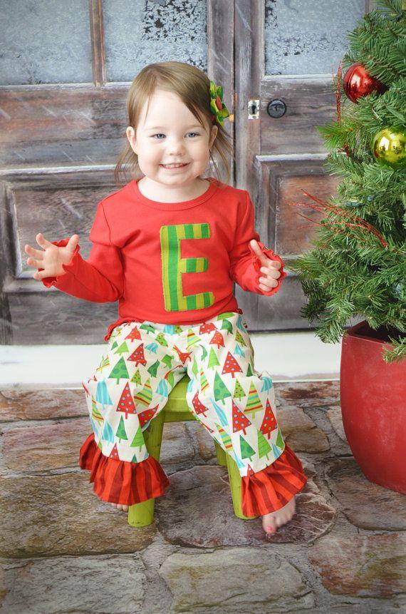 Christmas Outfit - Toddler Monogram Pajamas - Girls Christmas Set