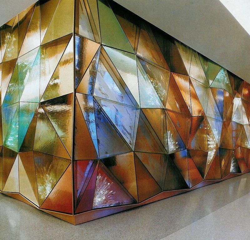 multi-colored architectural wall in jewel tones