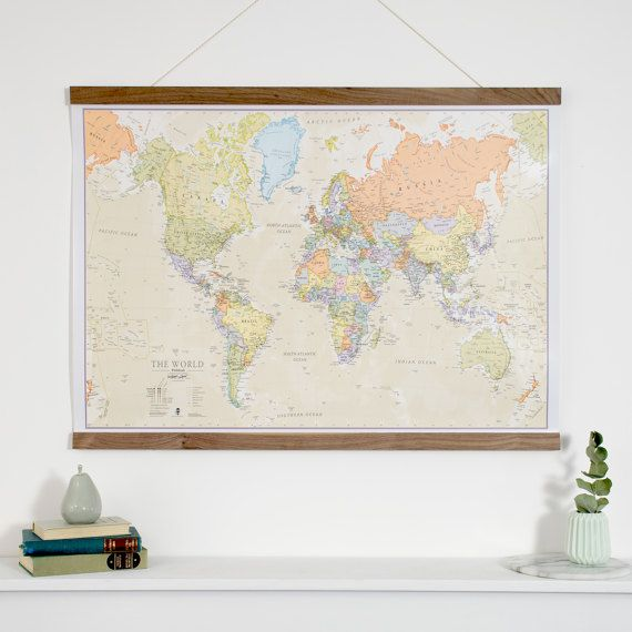 Clic World Map - home decor, living room, bedroom, wall art ... on map themed wedding decor, old map wall decor, world map wall decor, map home decor,