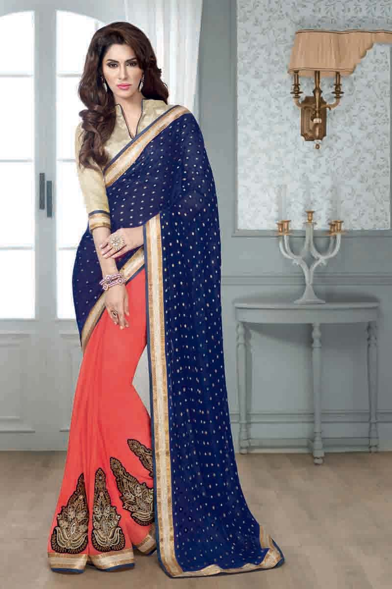Buy Blue Georgette Designer Saree Online in low price at Variation. Huge collection of Designer Sarees for Wedding. #designer #designersarees #sarees #onlineshopping #latest #lowprice #variation. To see more - https://www.variationfashion.com/collections/designer-sarees
