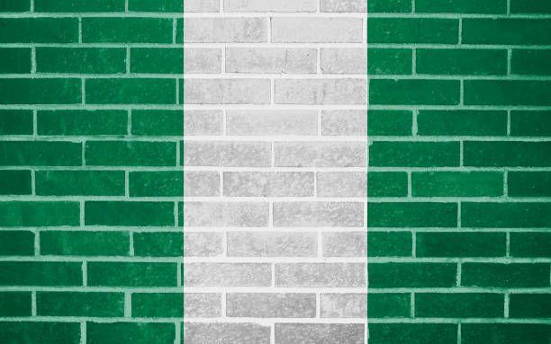 Nigeria National Flag On Brick Wall Brick Wall National Flag Brick