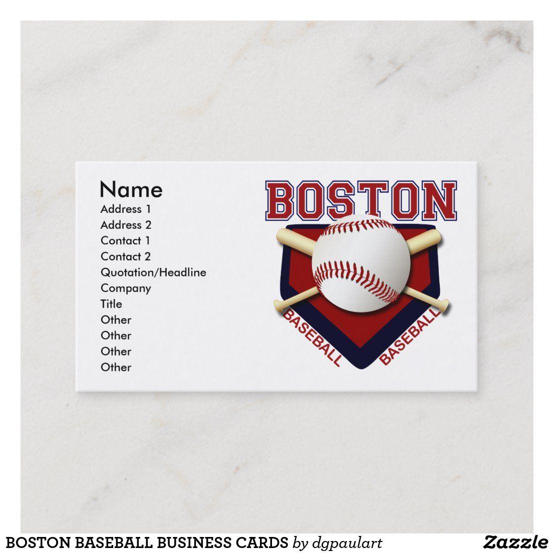 Boston Baseball Business Cards Zazzle Com Baseball Business Card Boston Baseball Baseball