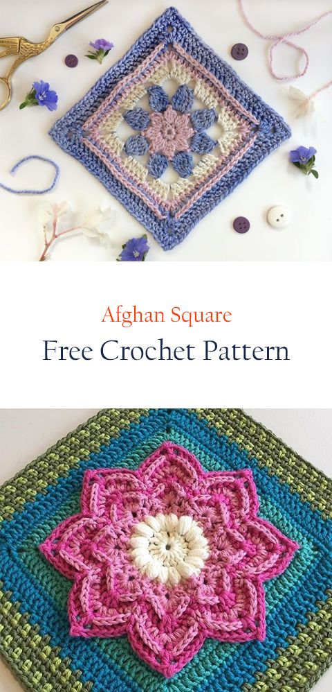 Afghan Square free crochet pattern | КВАДРАТАМИ | Pinterest ...