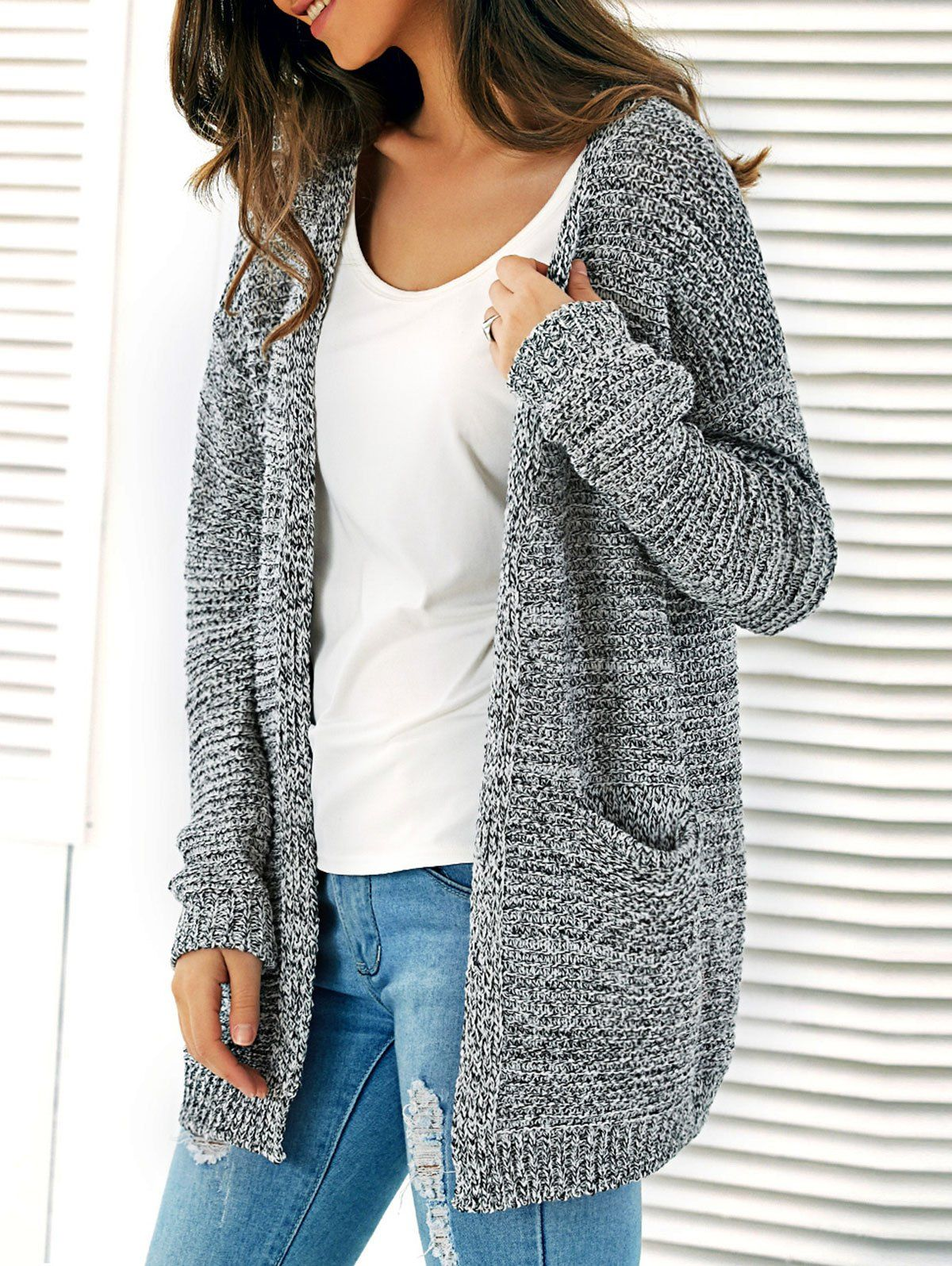 Knitted Open Cardigan With Pockets | Open cardigan, Grey and Clothes